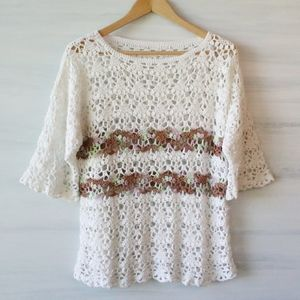 Vintage Boho Crochet Sweater